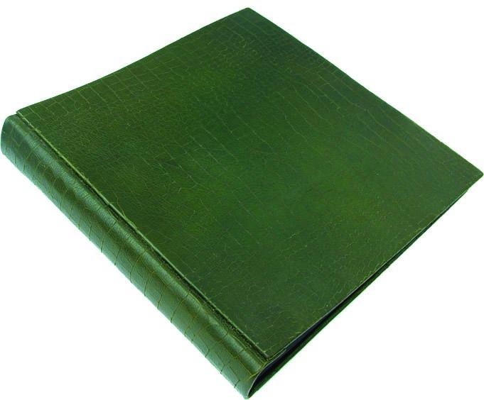 Álbum  de foto en cuero verde.